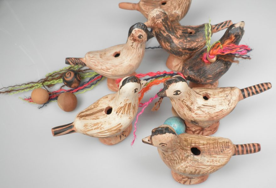 Bird-shaped water whistles