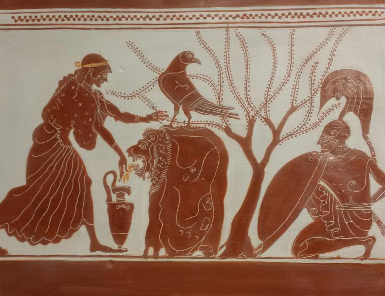 Large decorated pinax (before firing) made on the occasion of an exhibition The Berlin Painter and His World: Athenian Vase-Painting in the Early Fifth Century BC- Toledo Museum of Art in Ohio